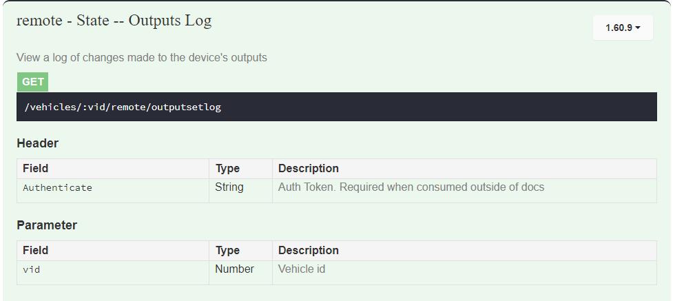API Outputs Logs